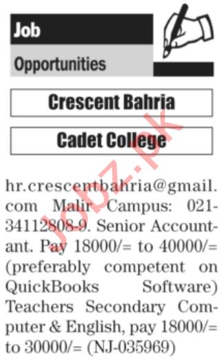 Crescent Bahria Cadet College Karachi Jobs 2021