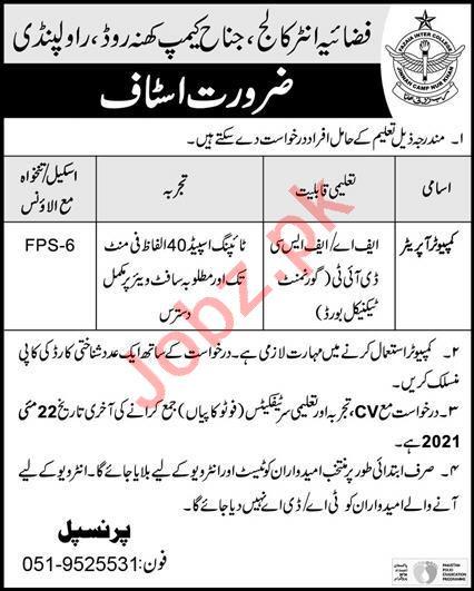 Fazaia Inter College Jinnah Camp Rawalpindi Jobs 2021