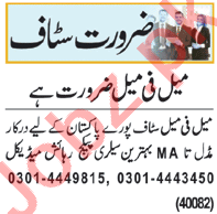 Data Entry Operator & Admin Manager Jobs 2021 in Lahore