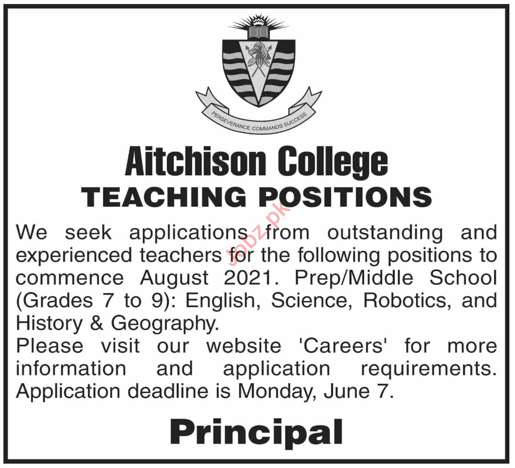 Aitchison College Lahore Jobs 2021 for Lecturer & Teacher