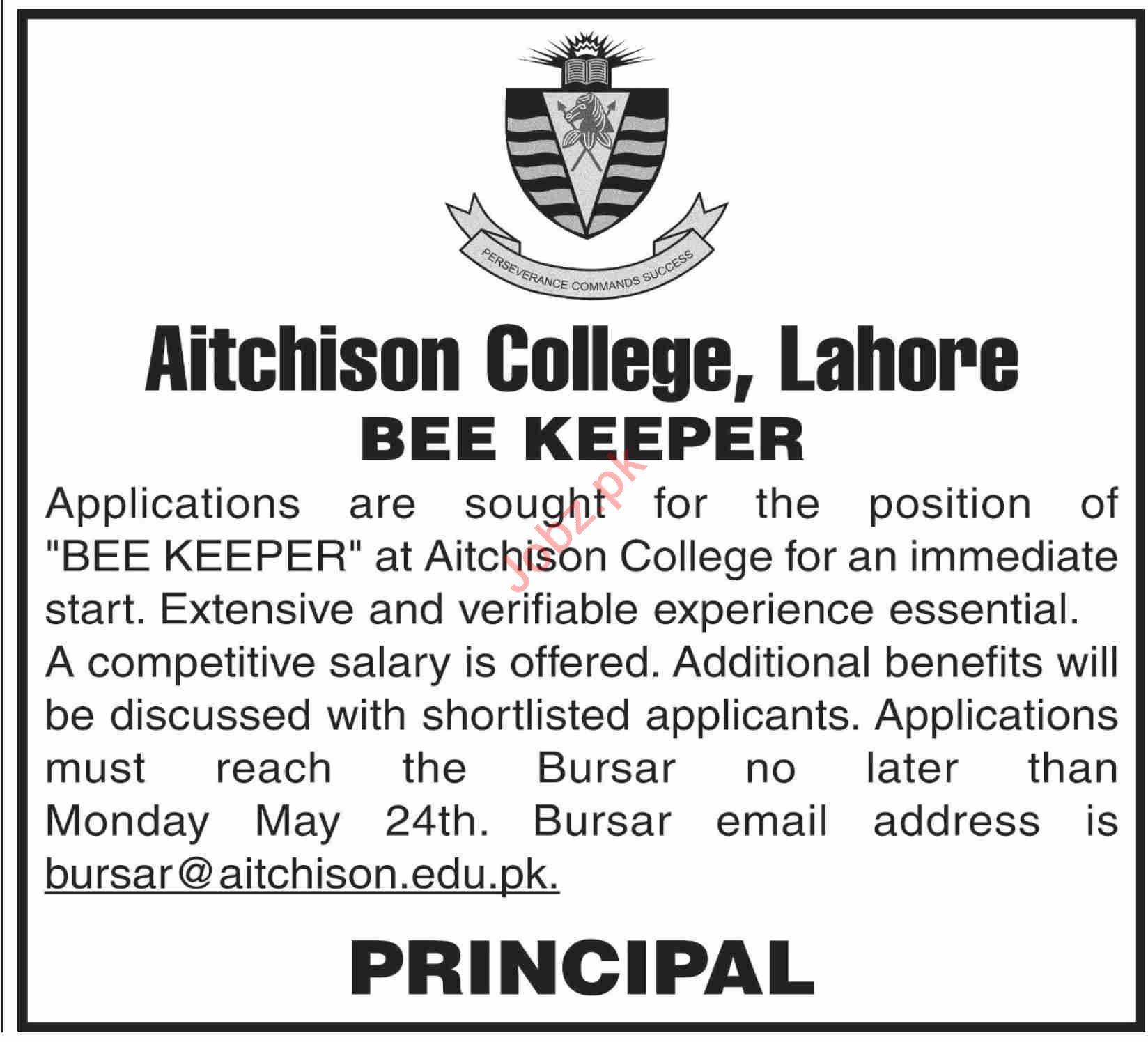 The Aitchison College Lahore Jobs 2021 for Bee Keeper