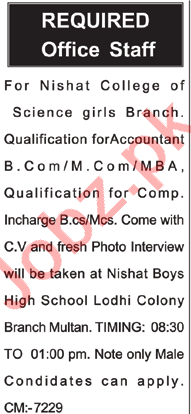 Nishat College of Science Multan Jobs Accountant & Incharge