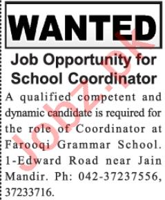 Farooqi Grammar School Lahore Jobs 2021 for Coordinator