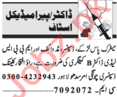 Lady Doctor & Midwife Jobs 2021 in Lahore