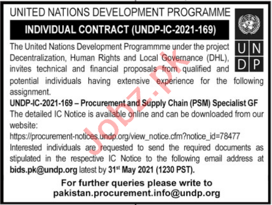 UNDP Jobs 2021 for Procurement & Supply Chain Specialist