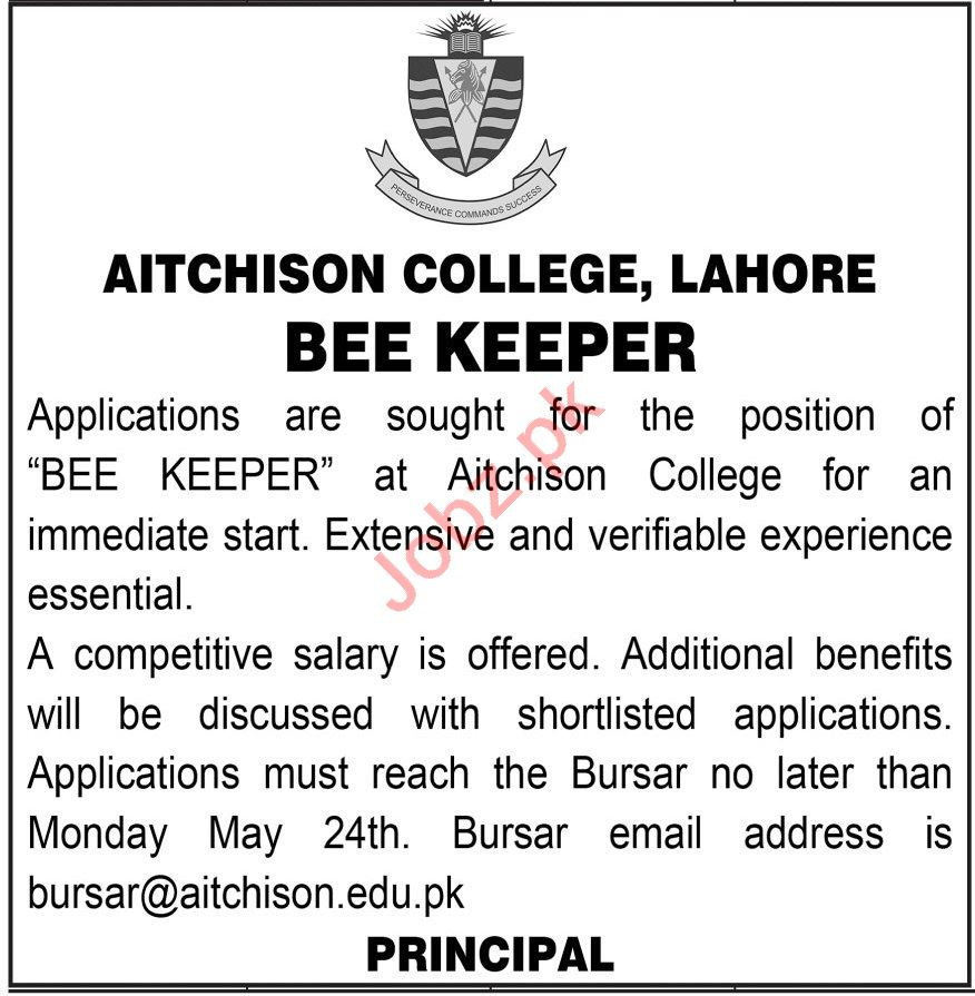 Aitchison College Lahore Jobs 2021 for Bee Keeper