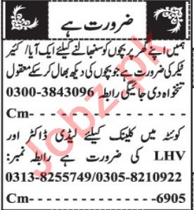 Lady Doctor & Caretaker Jobs 2021 in Quetta