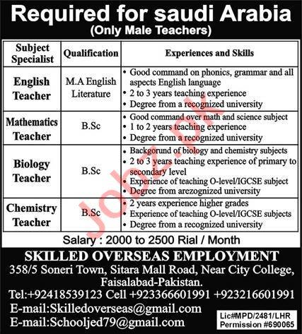Subject Specialist & Teachers Jobs 2021 in Saudi Arabia