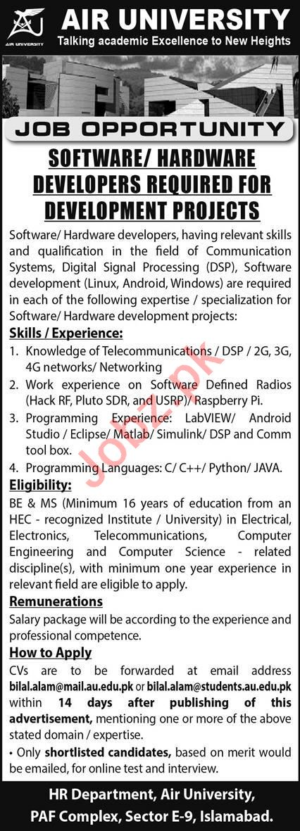 Air University AU Jobs 2021 Software & Hardware Developer