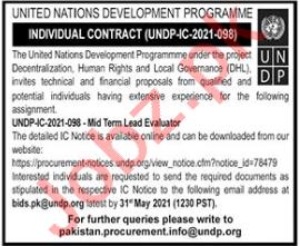 Mid Team Lead Evaluator Jobs 2021 in UNDP Islamabad