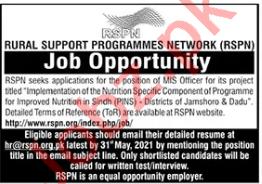 Rural Support Programmes Network RSPN Sindh Jobs 2021