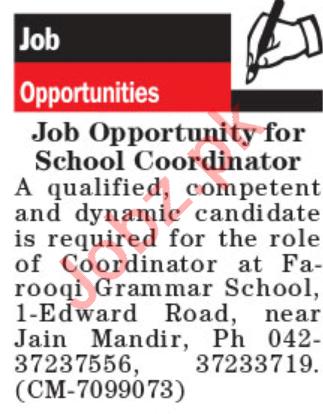 Farooqi Grammar School Lahore Jobs for School Coordinator