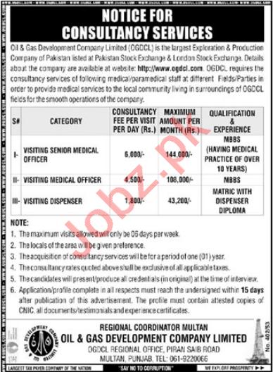 Medical Officer & Dispenser Jobs 2021 in OGDCL Multan