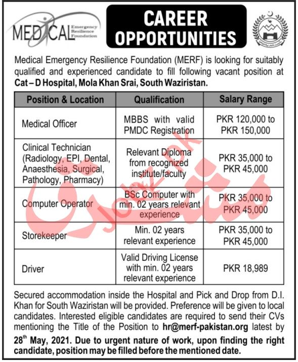 MERF Cat D Hospital Mola Khan Srai South Waziristan Jobs