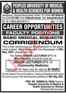 Peoples University of Medical PUMHSW Nawabshah Jobs 2021