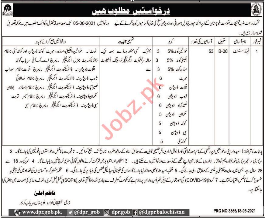 Agriculture Research Institute ARI Quetta Jobs 2021