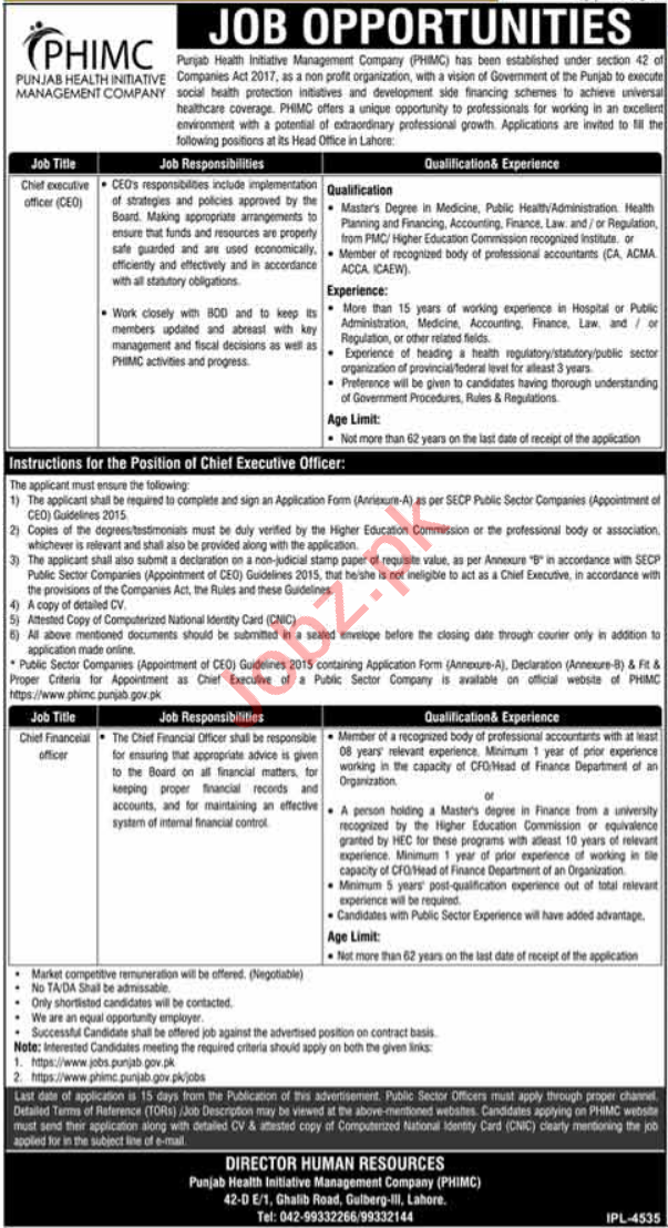 Punjab Health Initiative Management Company PHIMC Jobs 2021