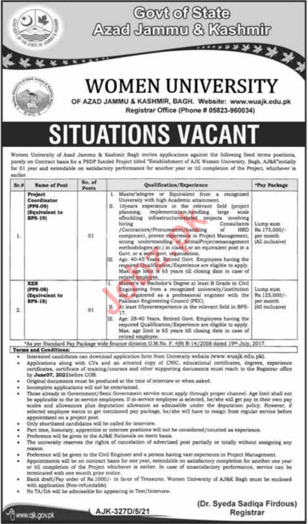 Women University WUAJK Azad Jammu & Kashmir Jobs 2021