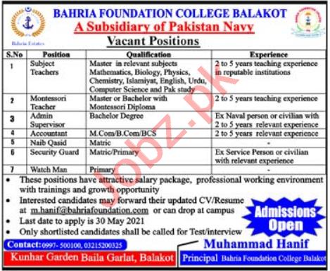 Bahria Foundation College Balakot Jobs 2021 for Teachers