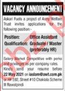 Army Welfare Trust AWT Rawalpindi Jobs 2021 Office Assistant
