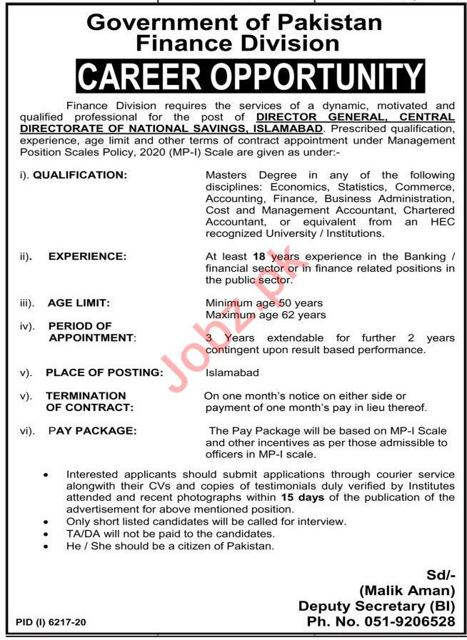 Central Directorate National Savings Finance Division Jobs