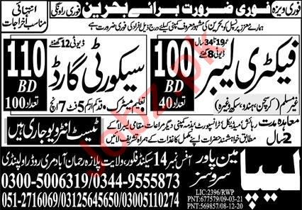Factory Labour & Security Guard Jobs 2021 in Bahrain