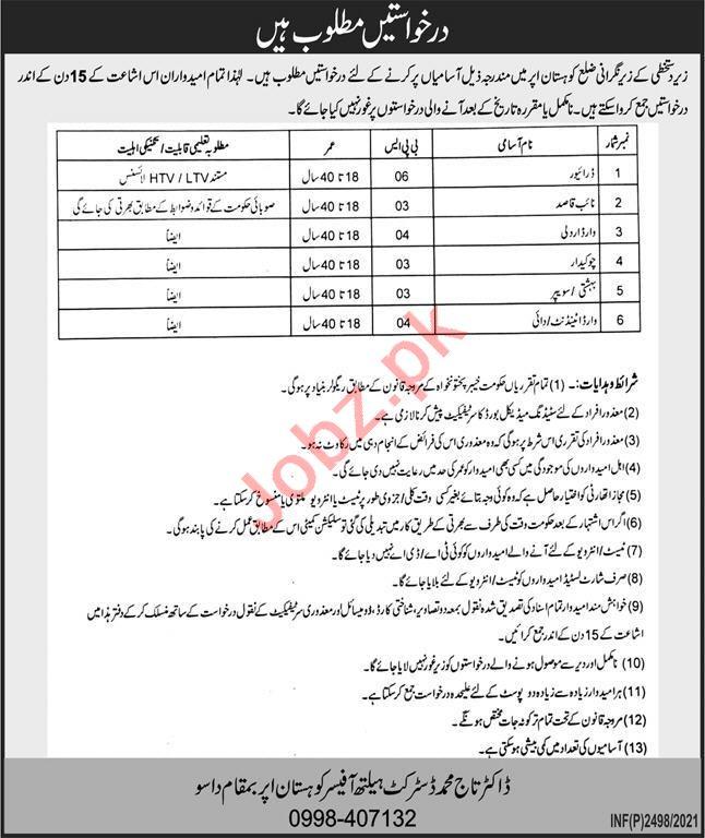 District Health Office Kohistan Upper Dassu Jobs 2021