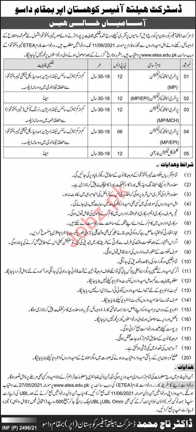 District Headquarter Hospital DHQ Kohistan Dassu Jobs 2021