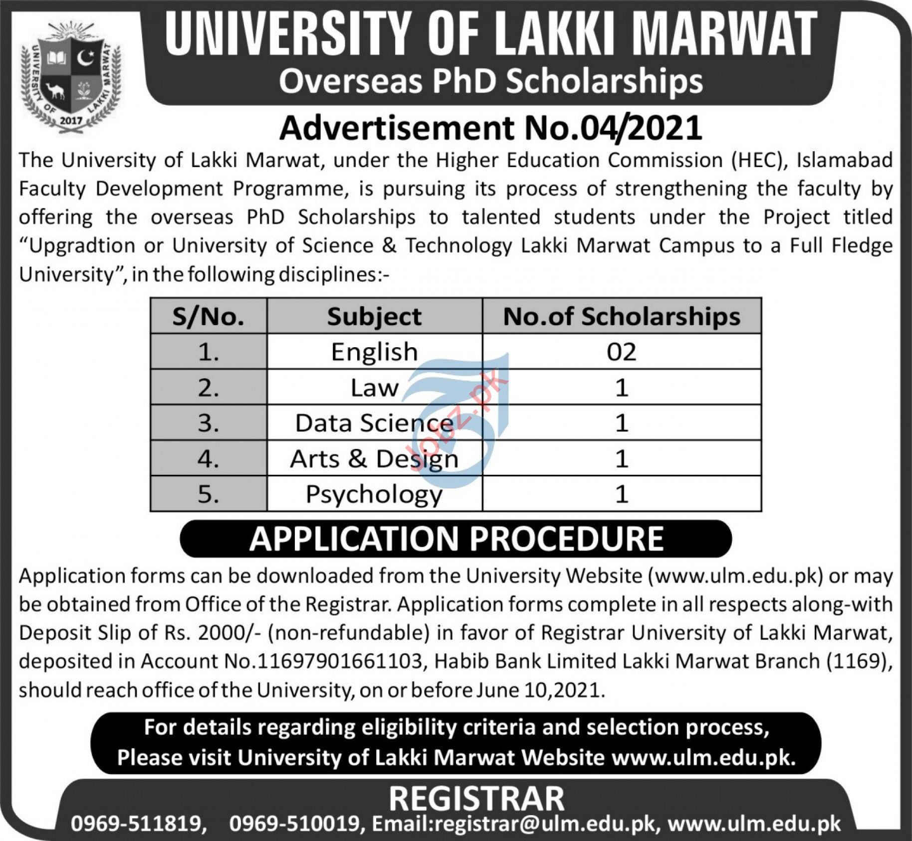 University of Lakki Marwat Overseas PhD Scholarships 2021