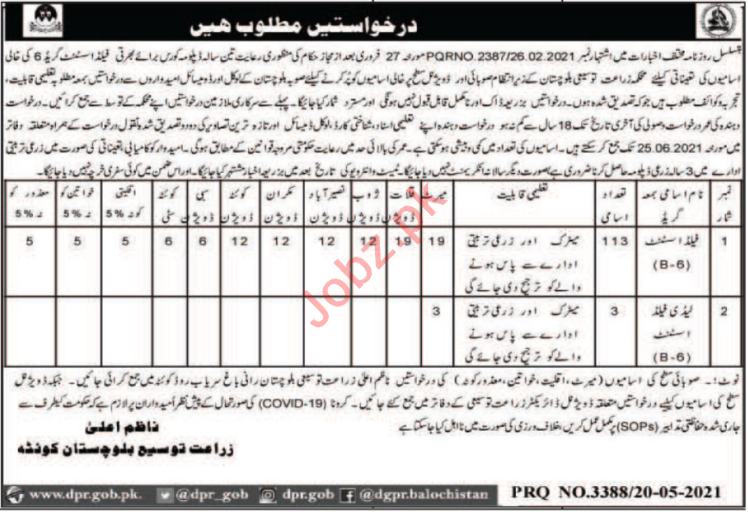 Agricultural Extension Department Quetta Jobs 2021