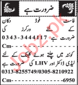 Lady Doctor & Telephone Operator Jobs 2021 in Quetta