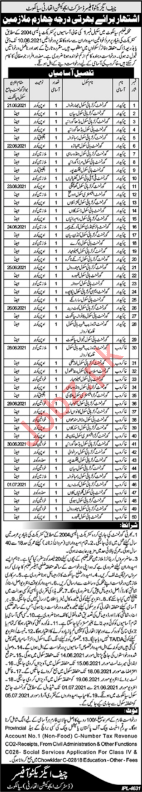 District Education Authority DEA Sialkot Jobs 2021 Sweepers