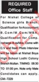 Accountant Jobs 2021 in Nishat College Multan