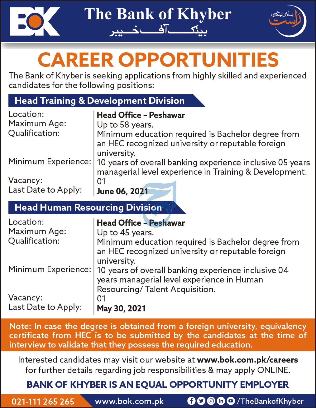 The Bank of Khyber BOK Jobs 2021