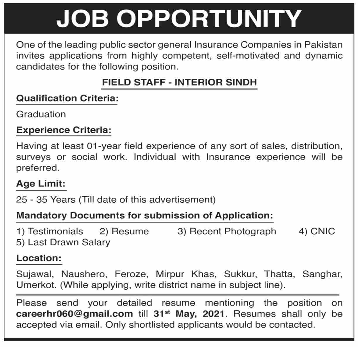 Insurance Company Jobs 2021 in Sindh