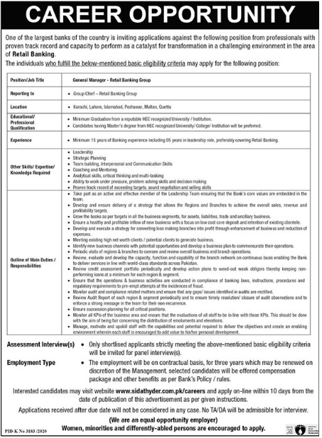 General Managers Retail Banking Group Jobs 2021