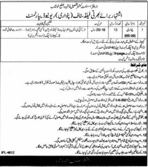Revenue Department Jobs 2021 For Patwari in Khushab