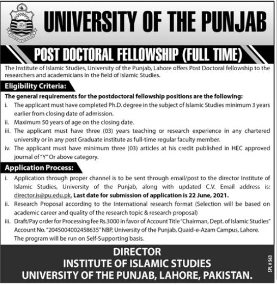 University of Punjab Post Doctoral Fellowship 2021