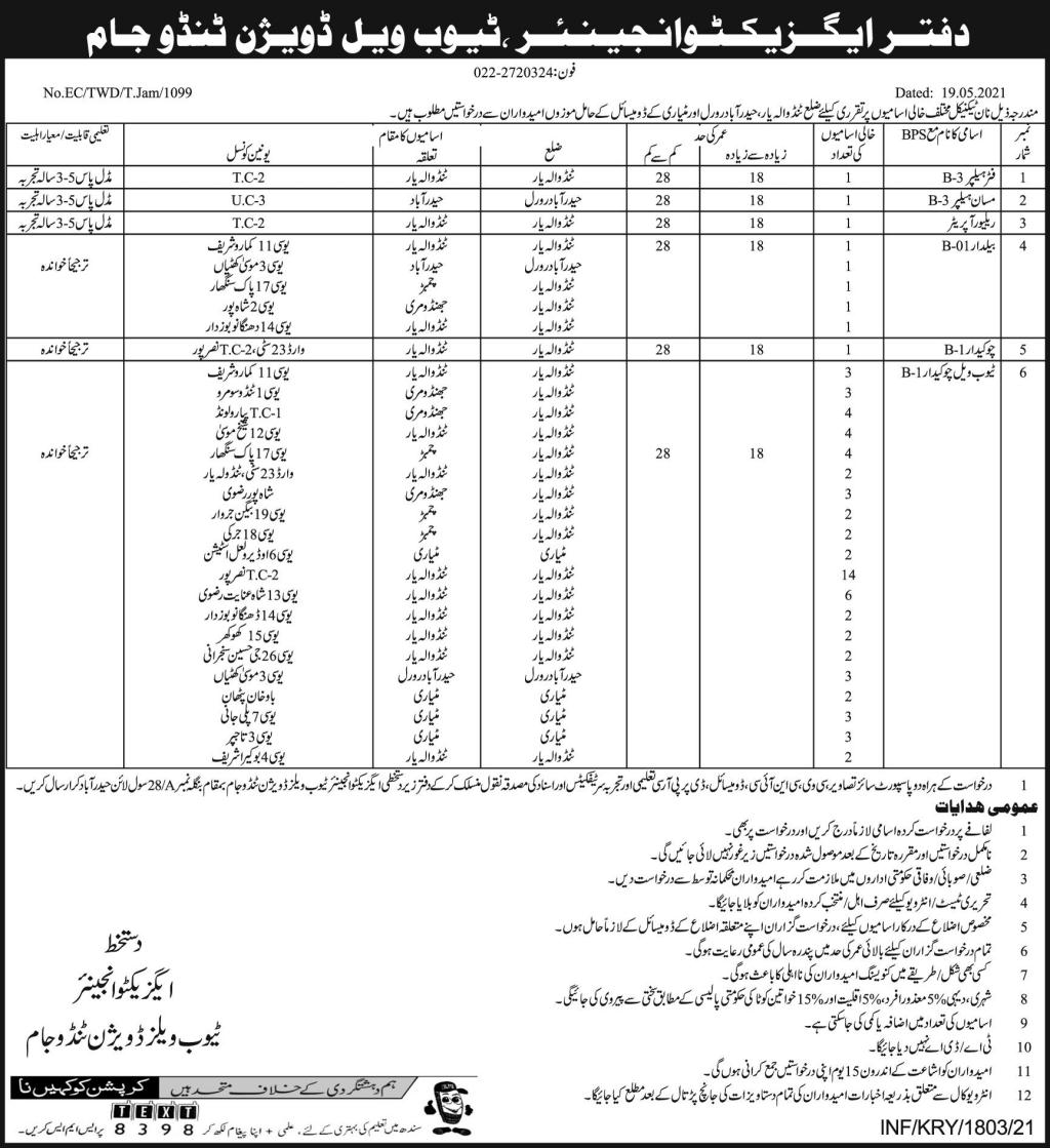 Tube Wells Division Jobs 2021 in Tando Jam