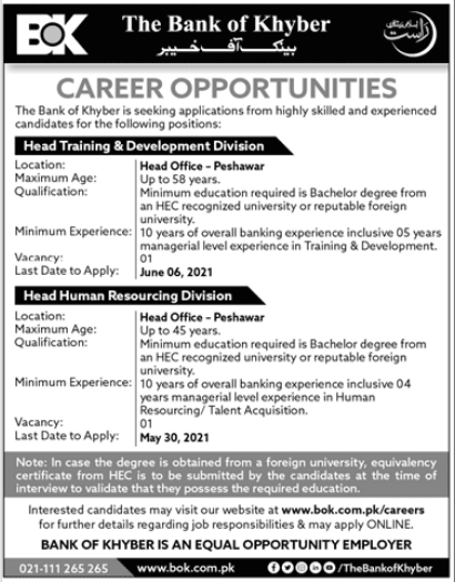 The Bank of Khyber Jobs 2021 in Peshawar