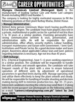 Olympia Chemicals Limited Jobs 2021 in Kasur