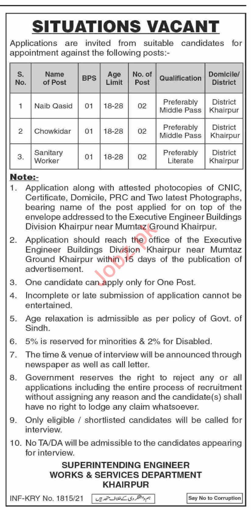 Works & Services Department Khairpur Jobs 2021