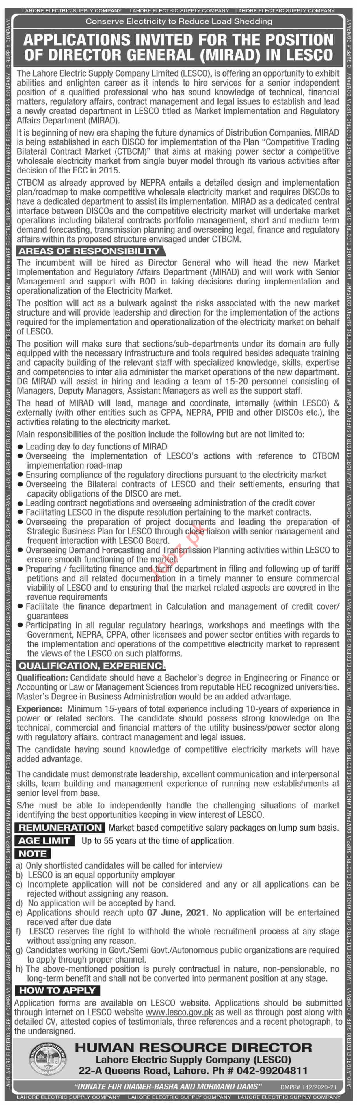 LESCO Lahore Electric Supply Company Jobs 2021