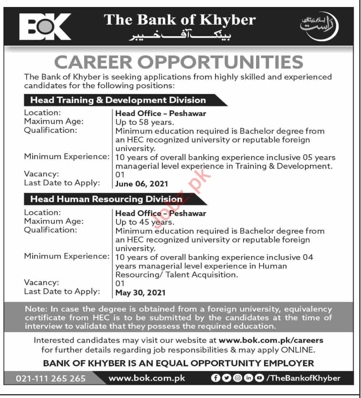 The Bank of Khyber BOK Jobs 2021 for Head of Training