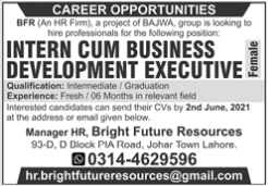 Intern Cum Business Development Executive Job 2021