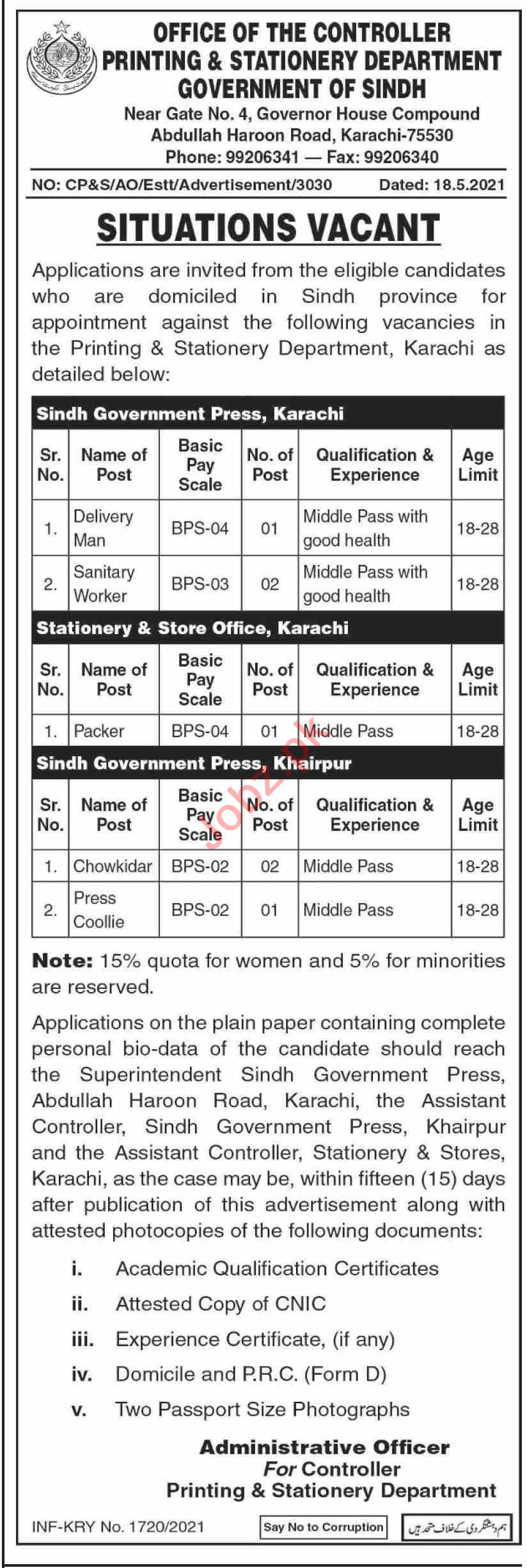 Printing & Stationery Department Sindh Jobs 2021