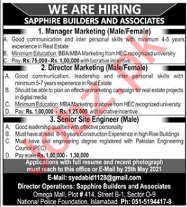 Director Marketing Jobs 2021 Sapphire Builders & Associates