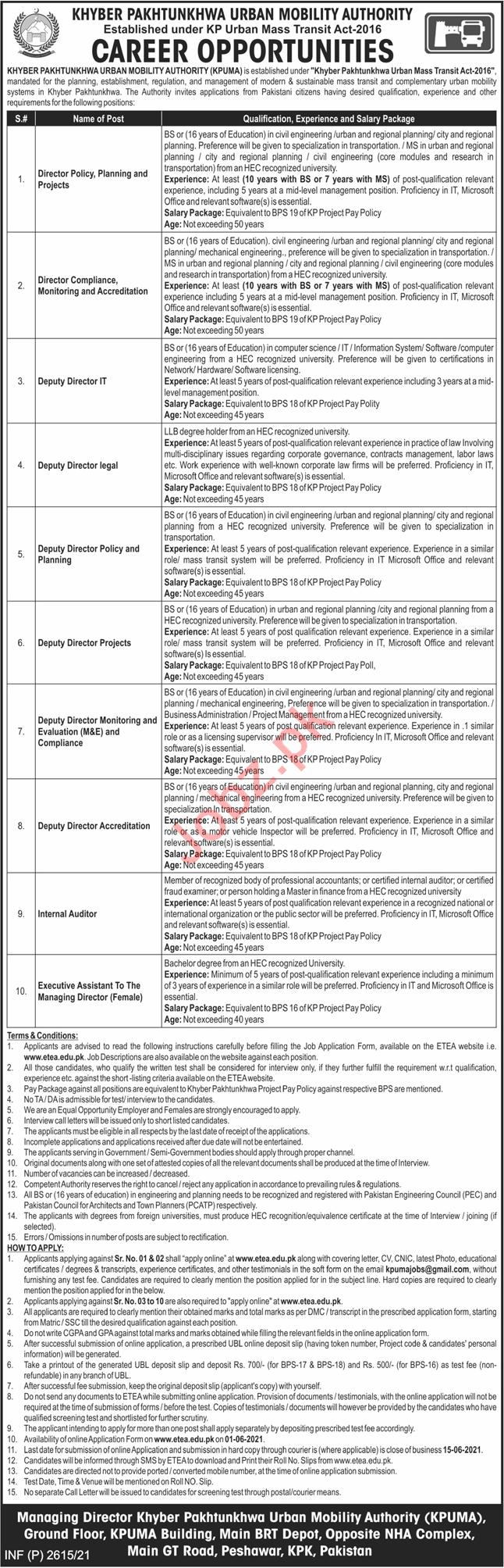 Khyber Pakhtunkhwa Urban Mobility Authority KPUMA Jobs 2021