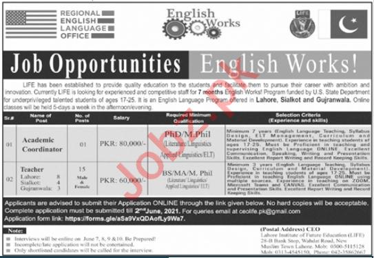 Lahore Institute of Future Education LIFE Lahore Jobs 2021