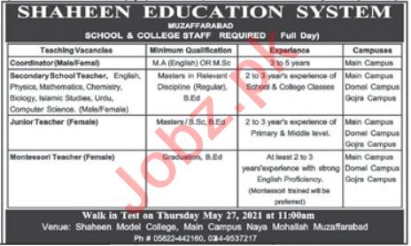 Shaheen Education System Muzaffarabad Jobs 2021